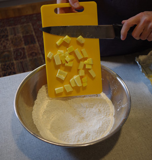 Chop the butter and add it to the flour blend