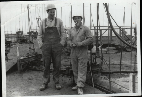 Dad (Luciano) circa 1962: The photo was taken down at the Portland docks where dad worked for months at a time. The chap on the right is a friend.